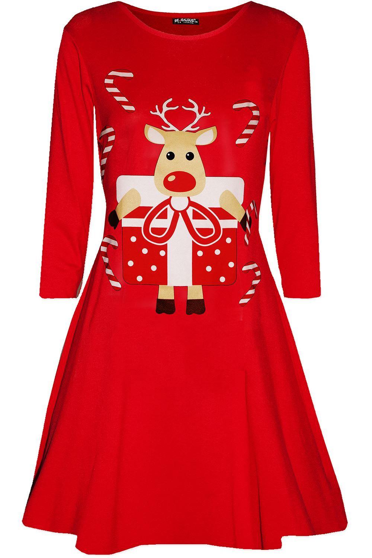 New Womens Ladies Christmas Xmas Flared Dancing Reindeer Santa Swing Mini Dress