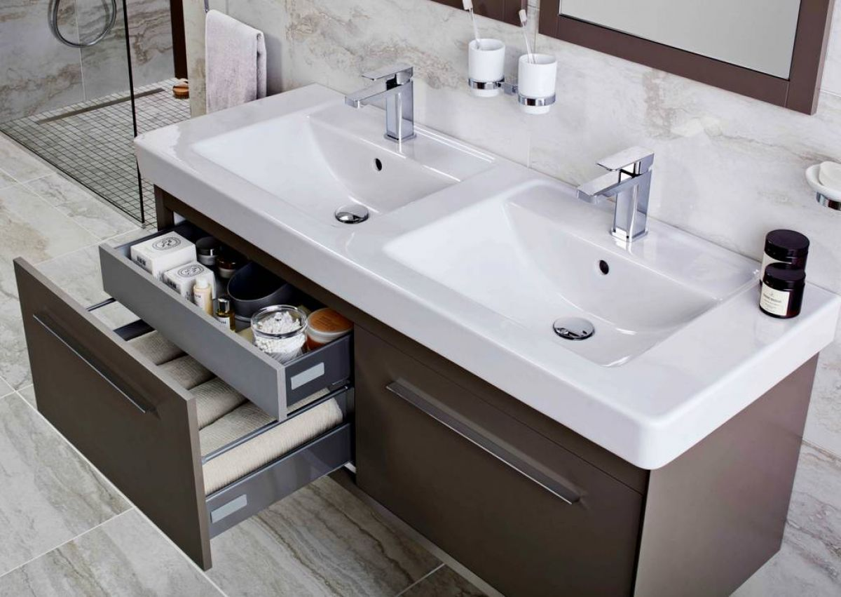 Abacus Simple Wallhung Twin Vanity Unit in 2020