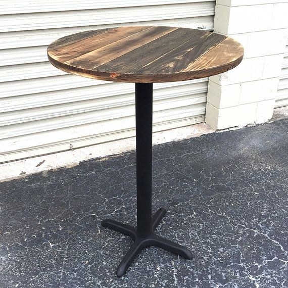 Made Of Reclaimed Weathered Pallet Wood, This Table Top Is Set On A Modern  Pedestal
