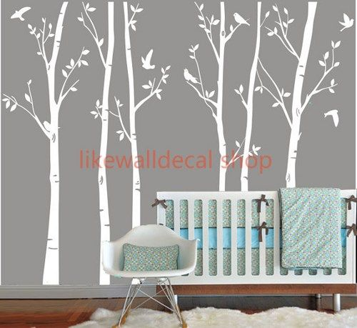 Nice Vinyl Wall Decals White Tree Decal Nursery Six Birth Trees Birds Leaf Bird  Trees Home House Part 12