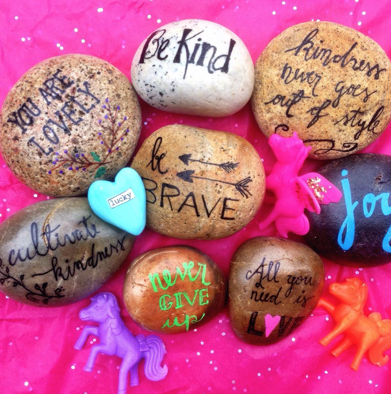 A Blog About Our Project Word Rocks We Share Rocks With Positive Words Write On Them All Around The World Rock Painting Supplies Rock Crafts Painted Rocks