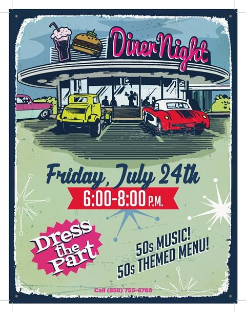 Diner Night Flyer Poster Design ; 50'S Theme | Dinner Events