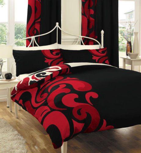 Single Ks Double Queen King Bed Quilt Duvet Cover Set Grandeur Red Black Red Bedding Sets Red Bedding Bedroom Red