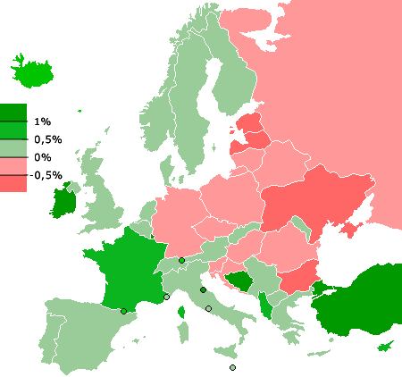 Map of europe showing population growth or decline rates source map of europe showing population growth or decline rates source cia world fact book gumiabroncs Images