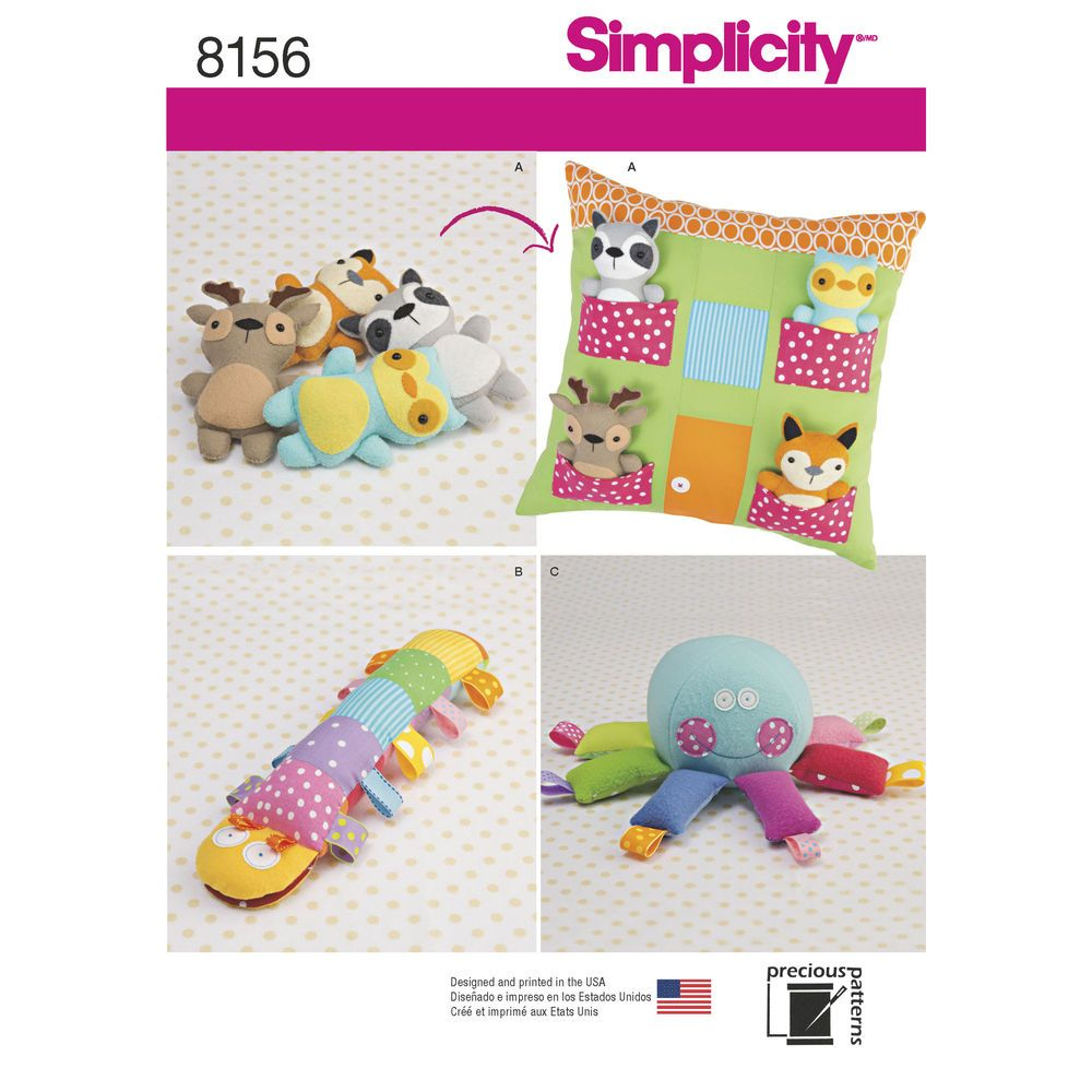 Make some stuffed animals friends and a place for them to live simplicity creative patterns simplicity pattern 8156 stuffed animals with pillow house and stuffed toys size one size one size to view further for jeuxipadfo Image collections