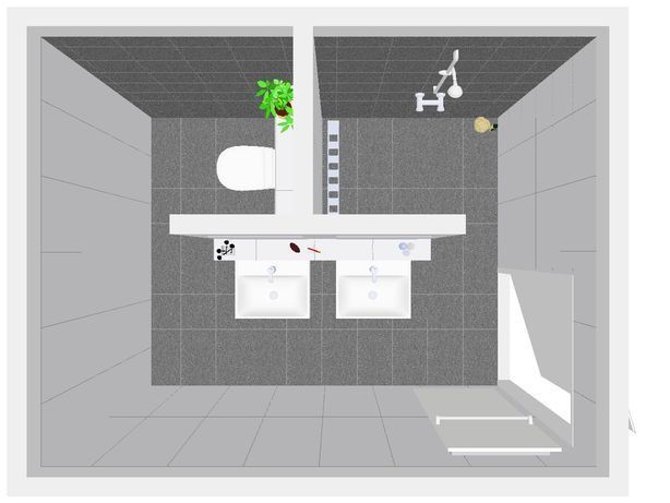 Idee voor inrichting badkamer. indeling badkamer met inloopdouche ...