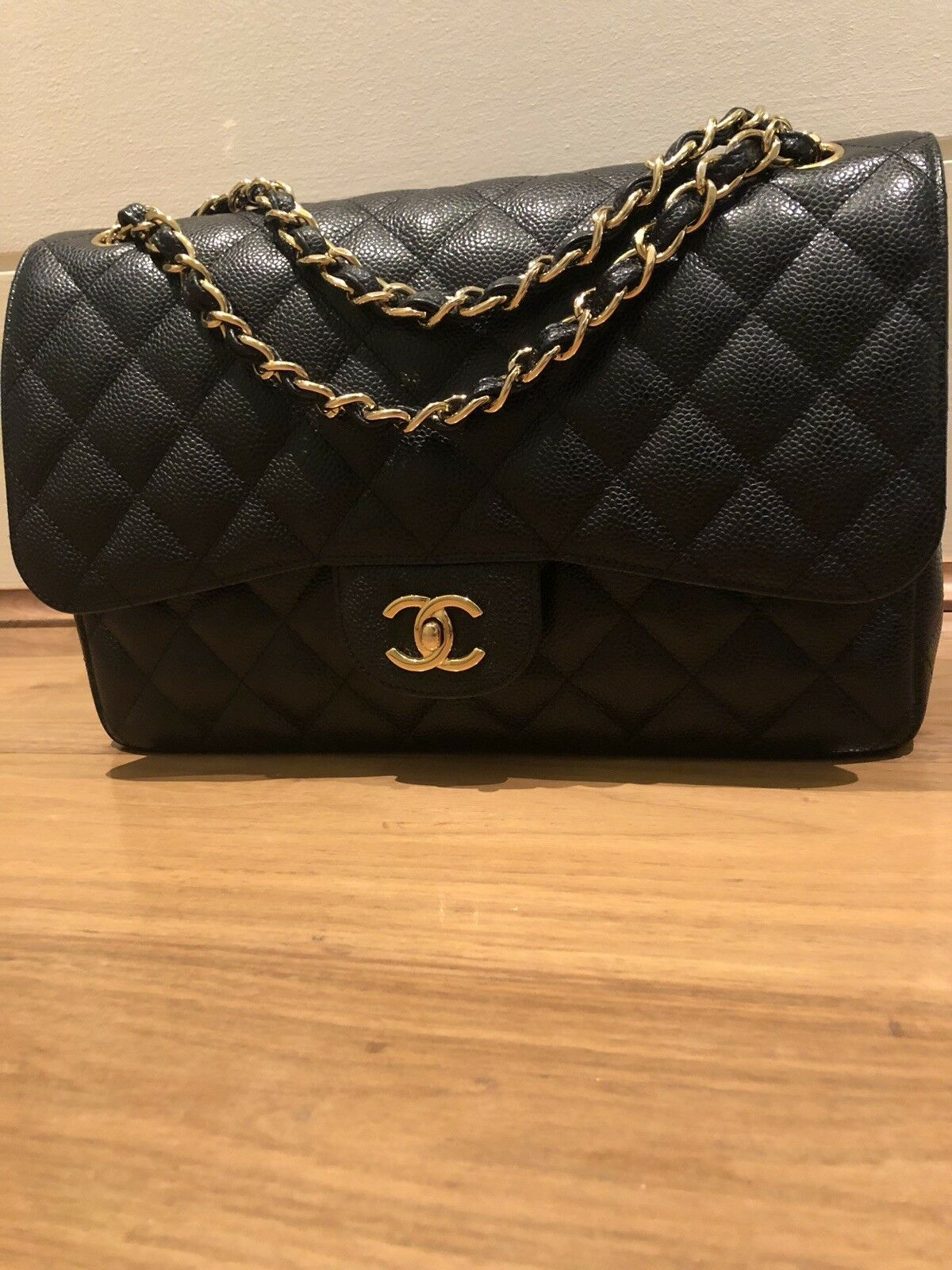 Chanel Large Clasic Flap Caviar Black Gold H W Chanel Black Bags