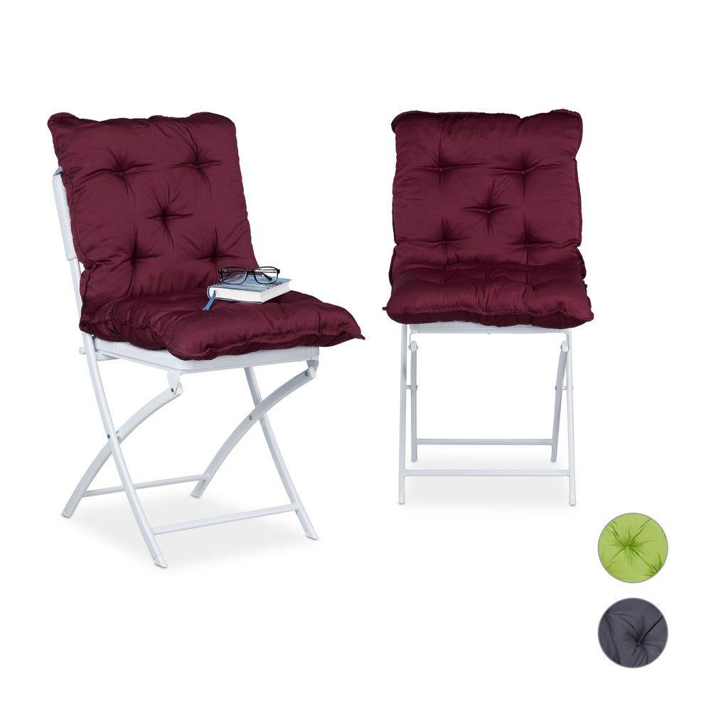 Sitzpolster 2er Set Kissen Lehne Gartenstuhl Auflage Sitzkissen