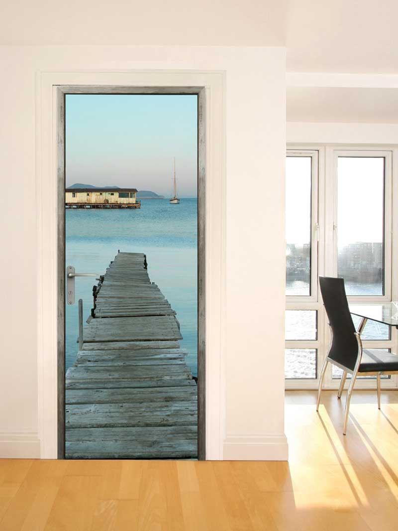 stickers trompe l 39 oeil de porte ponton en bois mer projets essayer pinterest ponton. Black Bedroom Furniture Sets. Home Design Ideas