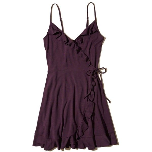 Hollister Ruffle Wrap-Front Knit Dress ($35) ❤ liked on Polyvore featuring dresses, purple, purple dress, camisole dress, strappy cami, frilly dresses and purple camisole