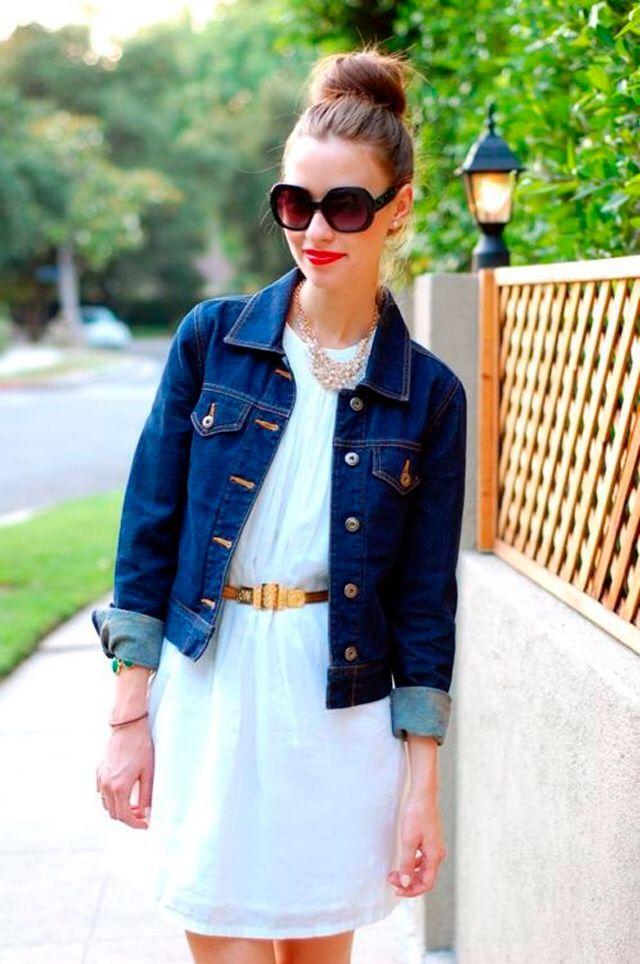 Resultado de imagen para chaqueta de jean con vestido pinterest