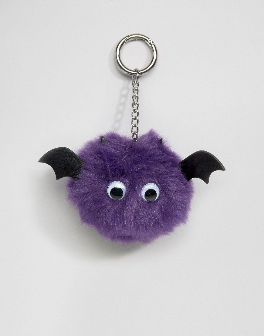 ASOS+Halloween+Bat+Pom+Bag+Charm+Key+Ring