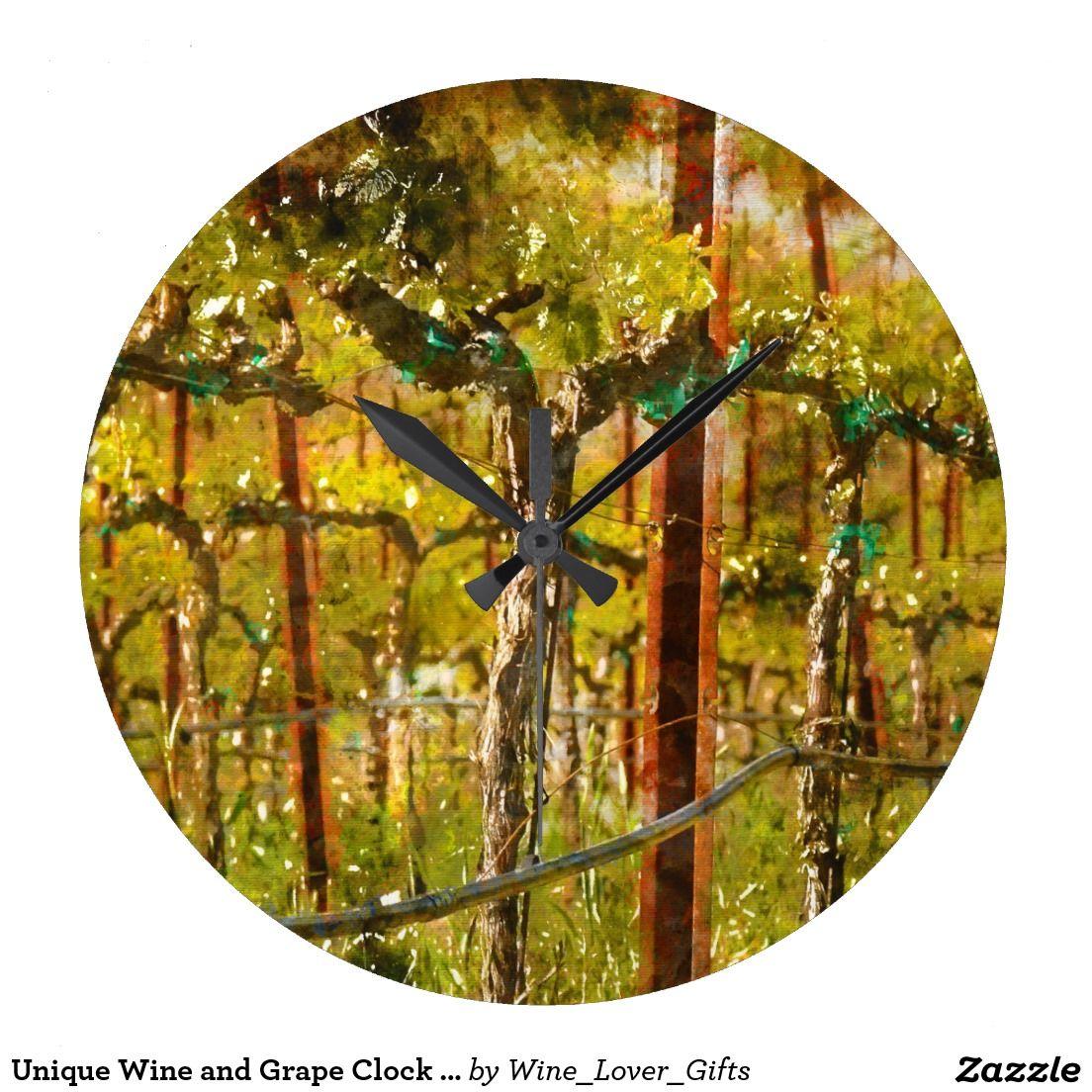 Unique Wine and Grape Clock for Home Decor. It\'s Wine O\'clock Wall ...