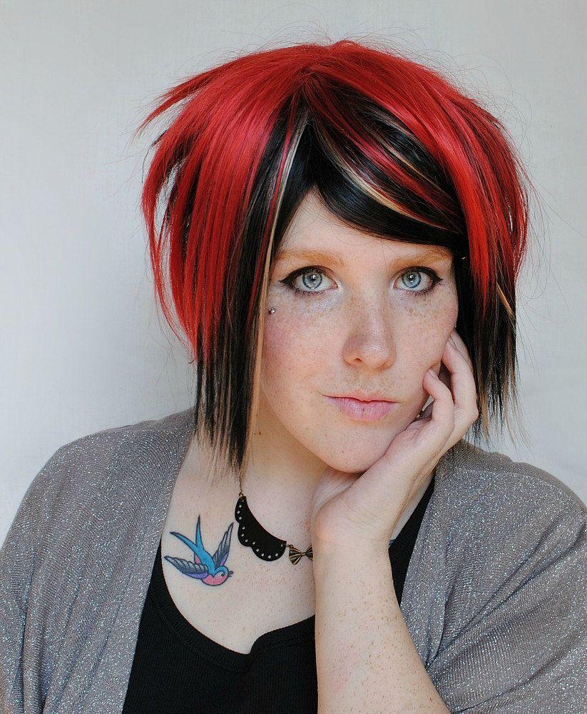 Red panda wig black red auburn blonde punk hair spiky hair