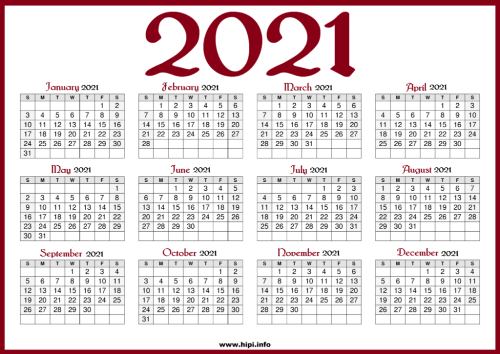 Printable 2021 Calendar with US Holidays   Red color   Hipi.info
