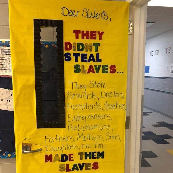 Photo of This Teacher's Black History Month Door Sign Makes an Important Distinction About Slavery — POPSUGAR