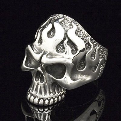 FLAME SKULL RING STERLING SILVER 925. #Flame #SkullRing by #Silverlogy