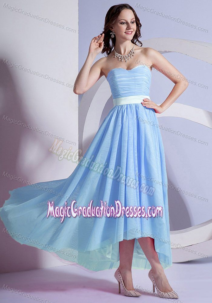 High-low Sweetheart Light Blue Graduation Dresses for Middle ...