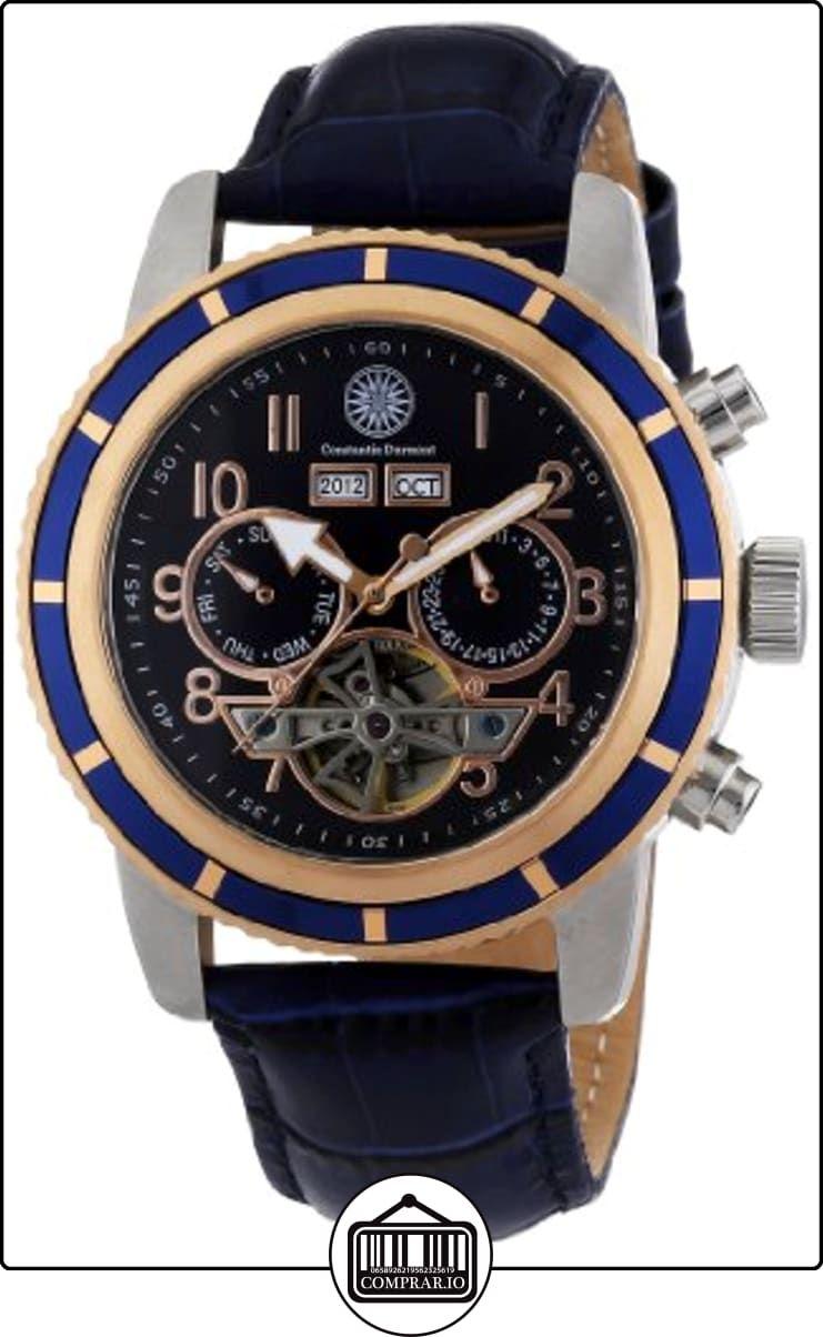 bf99d4ee161c Constantin Durmont Pueblo - Reloj analógico de caballero automático con  correa de piel azul - sumergible a 30 metros de ✿ Relojes para hombre -  (Gama ...