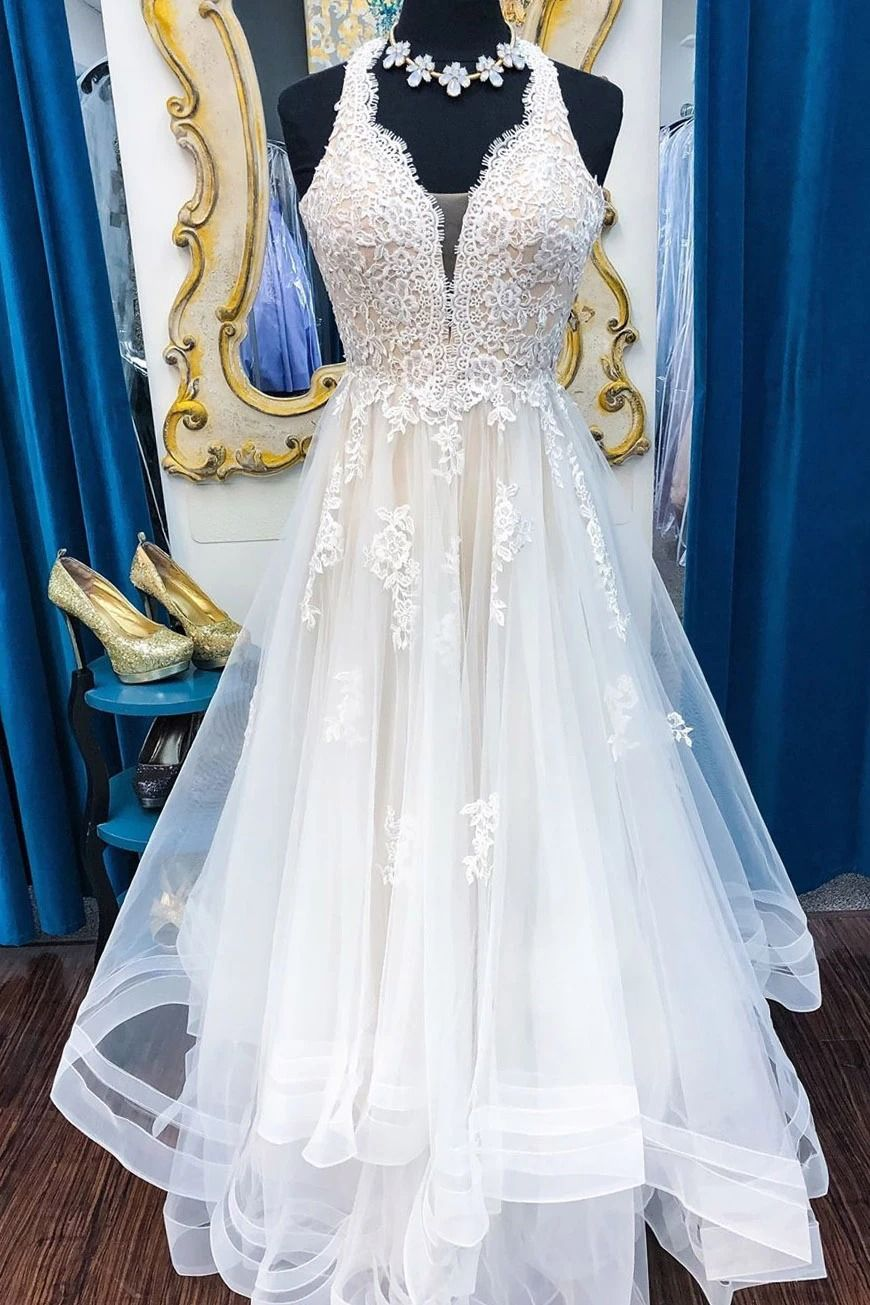 Long Illusion V Neck A Line Halter Ivory Wedding Dress With Lace In 2020 Ivory Wedding Dress Beige Wedding Dress Wedding Dresses