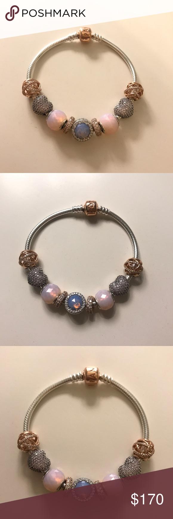 Pandora bracelet size with charms and clips pandora rose