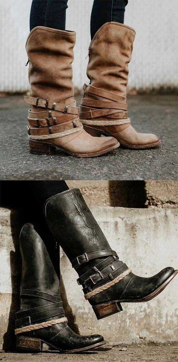 52% RABATT >> Vintage verstellbare Schnallenstiefel Plus Size Back Zipper Boots – Schuhe –