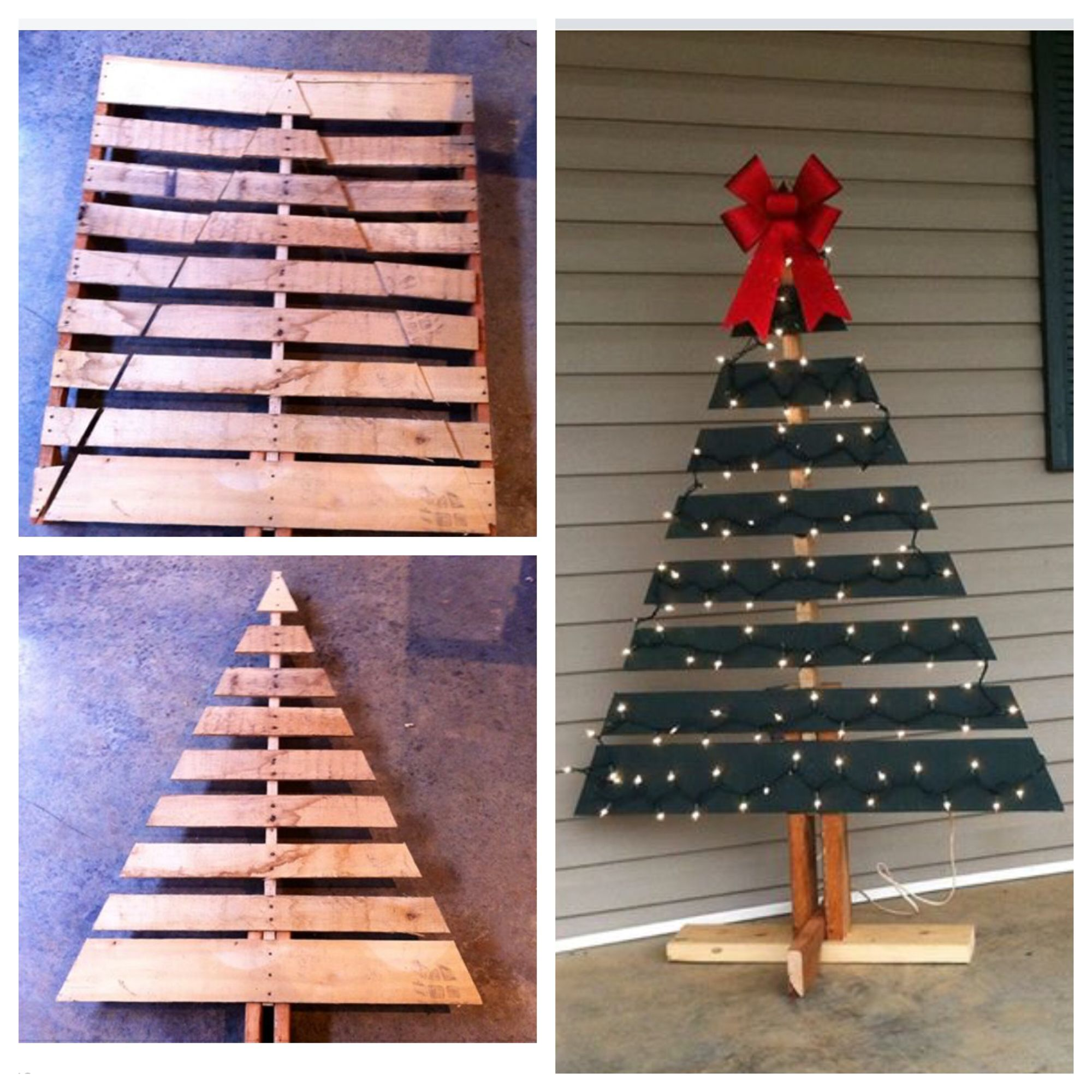 Diy Wooden Pallet Made Into A Front Porch Christmas Tree Pallet Wood Christmas Pallet Christmas Tree Christmas Decorating Hacks