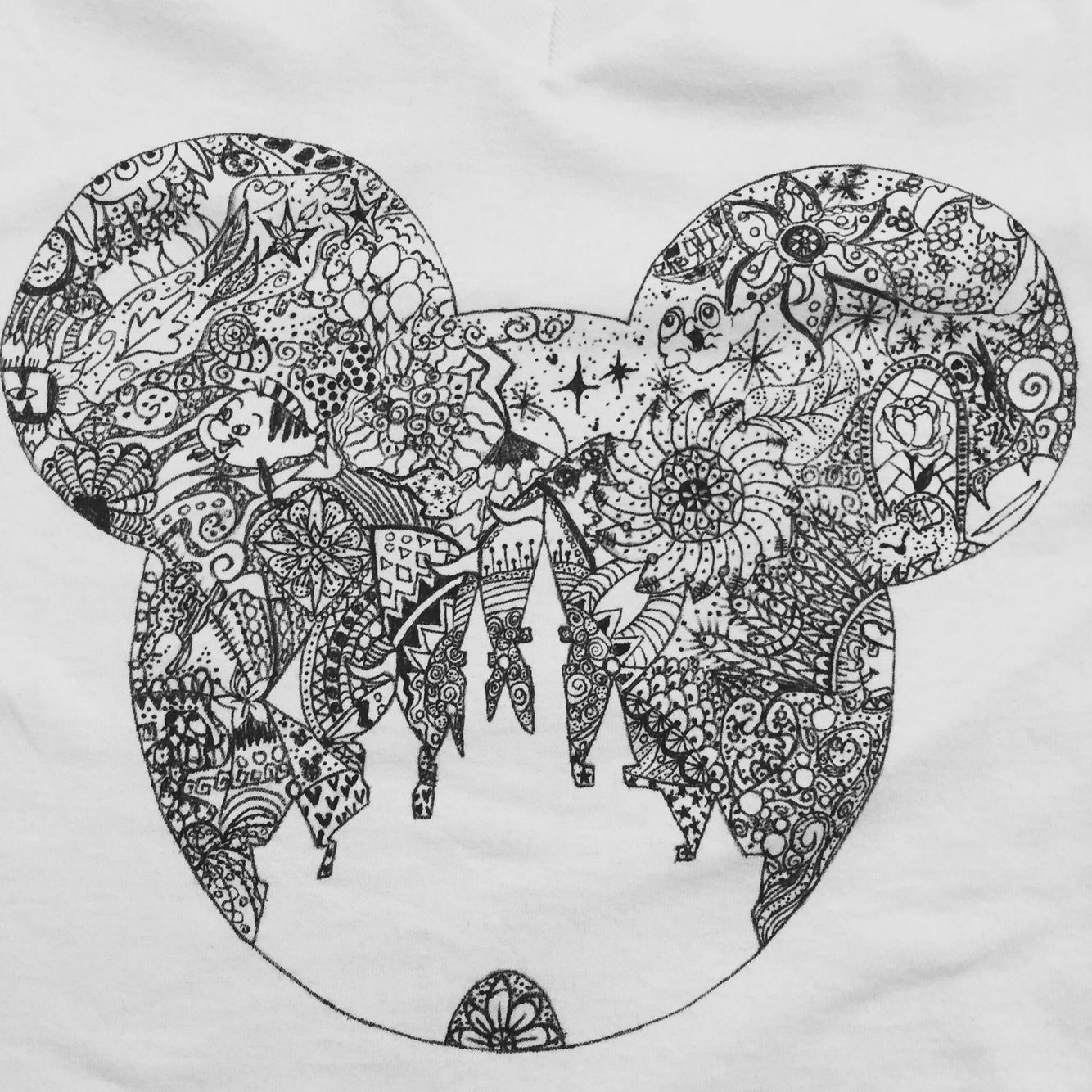 Hand Drawn Shirt I Made For Myself Disney Castle With Lots