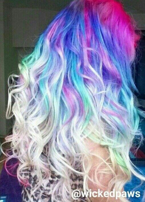 Pink Purple Blonde Ombre Dyed Hair Color Sac Stilleri Sac Stil
