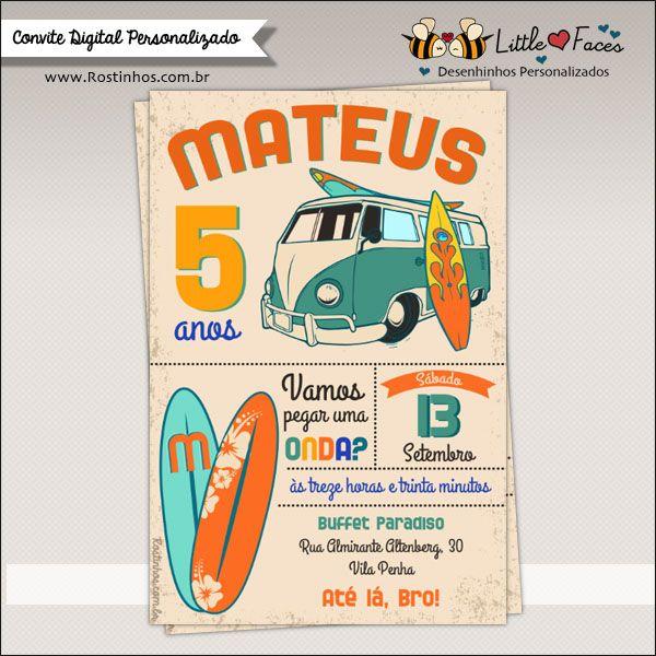 Convite Festa Surf Vintage para Imprimir