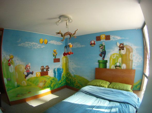 The World S Nerdiest Bedrooms Feature Super Mario Room Mario Room Baby Room Themes
