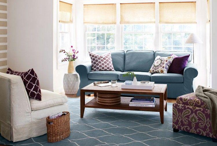 Blaues Sofa Mit Passendem Teppich Kombinieren
