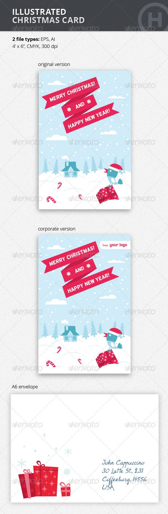 Illustrated Christmas Card with Bird | Template, Creative flyers and ...
