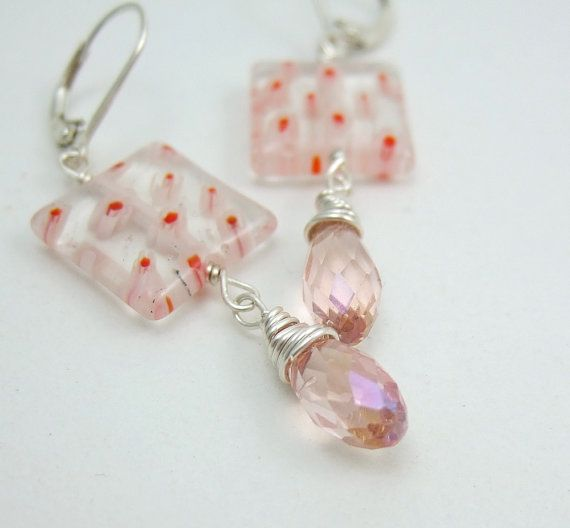 Earrings with Flowered Glass Squares and Peach by jewelrybyroz, $22.00