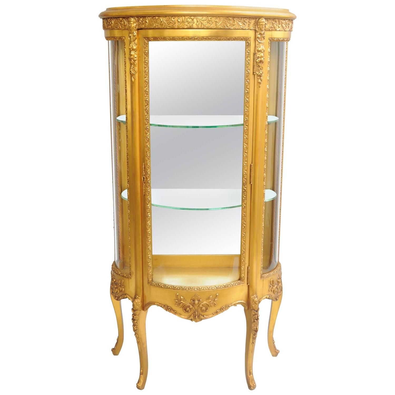 Small French Louis Xv Style Gold Giltwood Curved Glass Vitrine