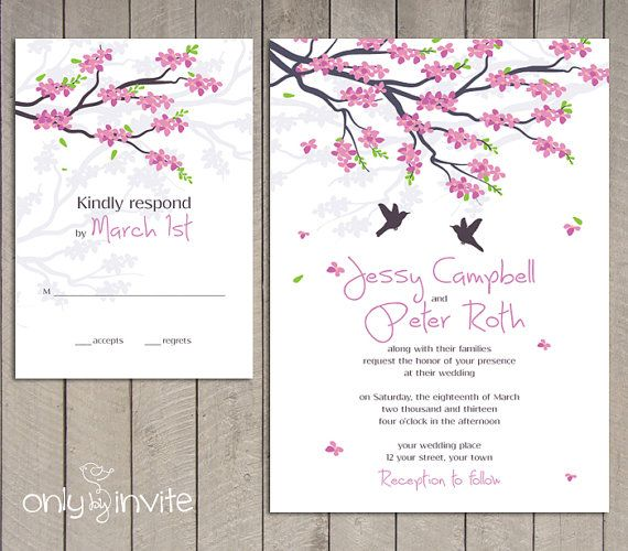 Cherry Blossom Wedding Invitation Printable Flourish Spring Diy