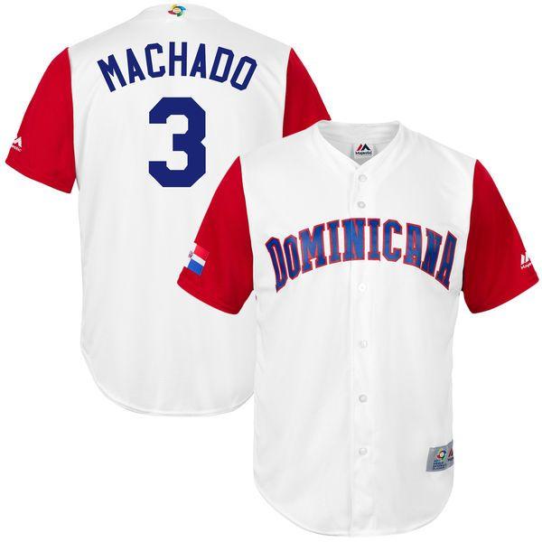 Manny Machado Dominican Republic Baseball Majestic Youth 2017 World Baseball Classic Replica Jersey - White - $64.99