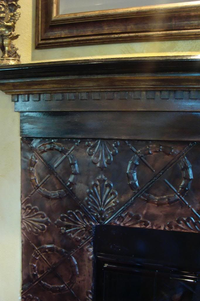 Pressed Tin Covered Fireplace Hides Ugly Tile Work Amy