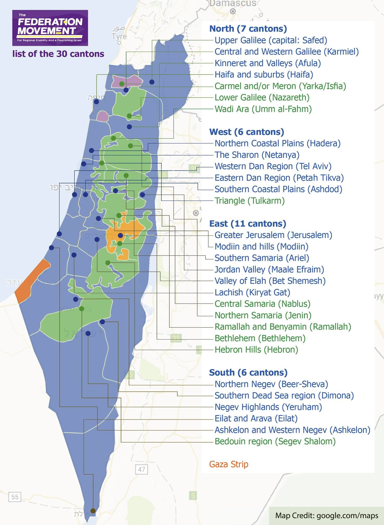 Map Of Proposed Israeli Palestinian Federation Made By A