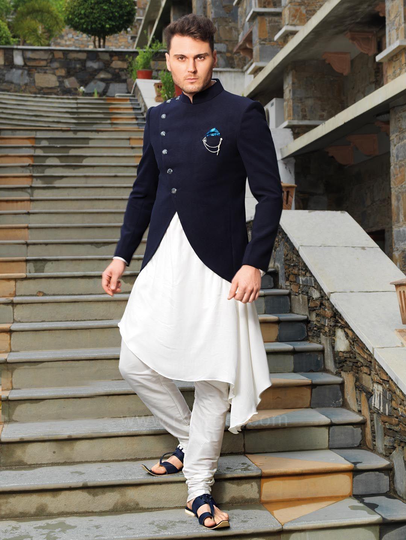 Stylish kurta with navy color koti bandhgalas in pinterest