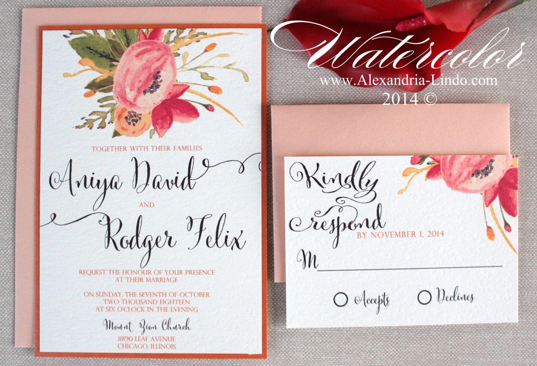 Watercolor Wedding Invitation Por Alexandrialindo En Etsy
