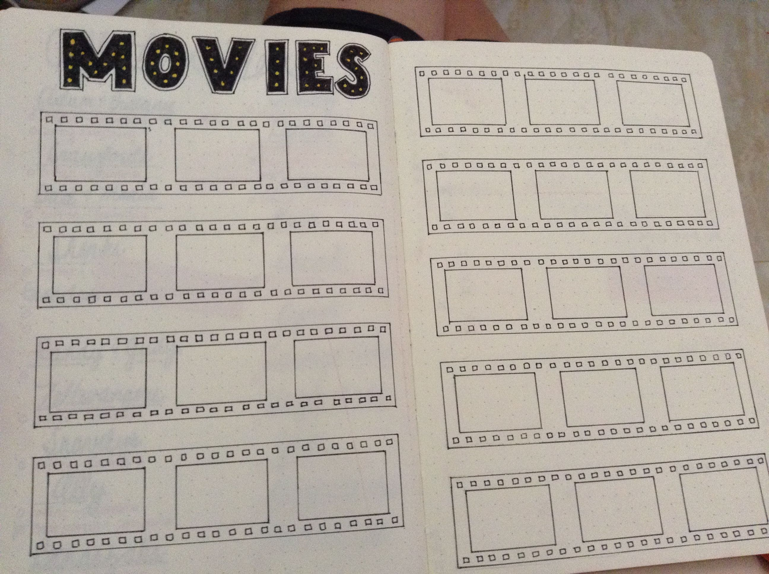 My Movies To Watch Page In My 2016 Bullet Journal Journaling