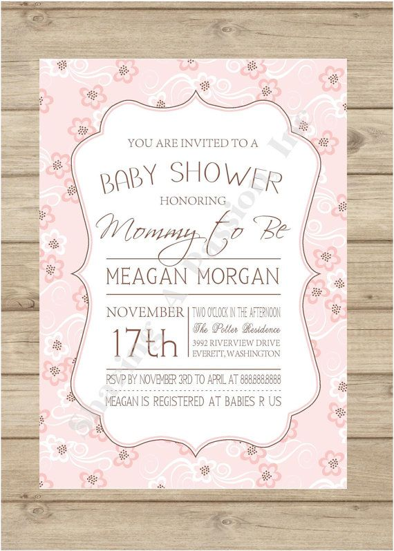 Floral Baby Shower Invitation Pink And Brown Baby Shower Baby