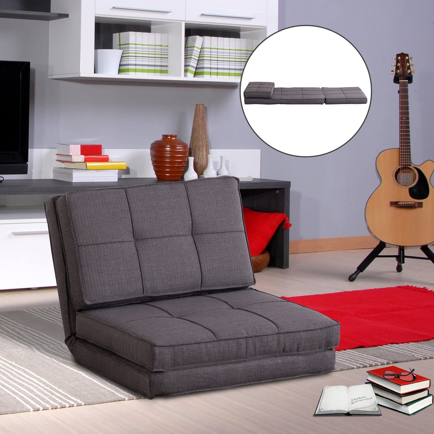 Single Sofa Bed Fold Out Guest Chair Foldable Futon