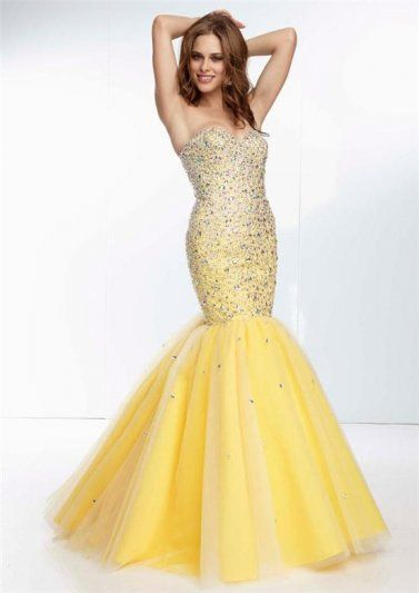 Beaded Mori Lee 95071 Yellow Mermaid Prom Gowns 2015 | PROMise me ...