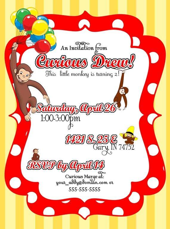Diy Printable But Customized Curious George Monkey Invitation Etsy Curious George Invitations Curious George Birthday Curious George Birthday Invitations