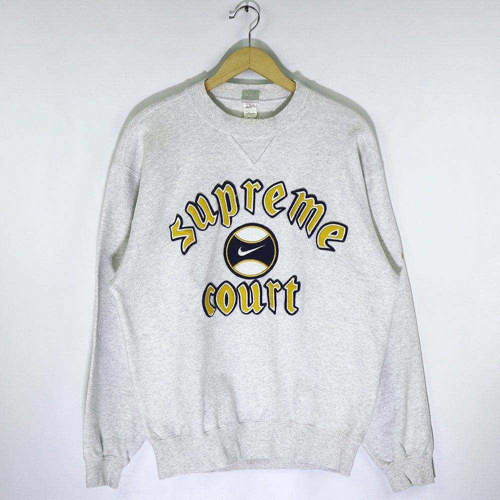 Rare Vintage 90s Nike Supreme Court Sweatshirt Pullover Jumper Retro Nike Streetwear Old School Tennis Andre Agassi Swoosh Nike Big Logo Pullover Sweatshirts Vintage Adidas Sweatshirts [ 1000 x 1000 Pixel ]