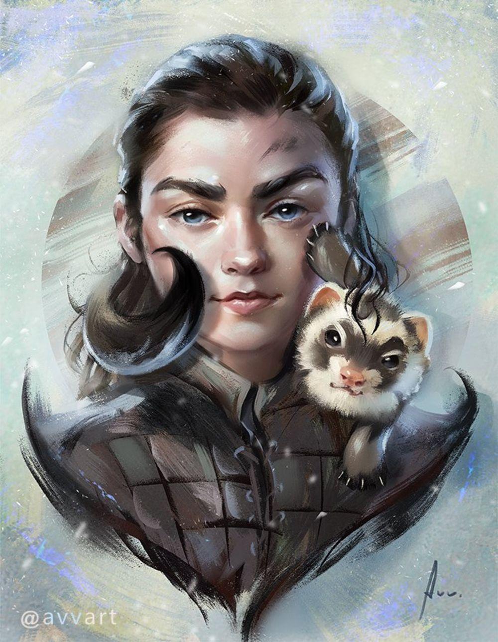 Dessin Arya Stark de Game Of Thrones par Aleksei ...