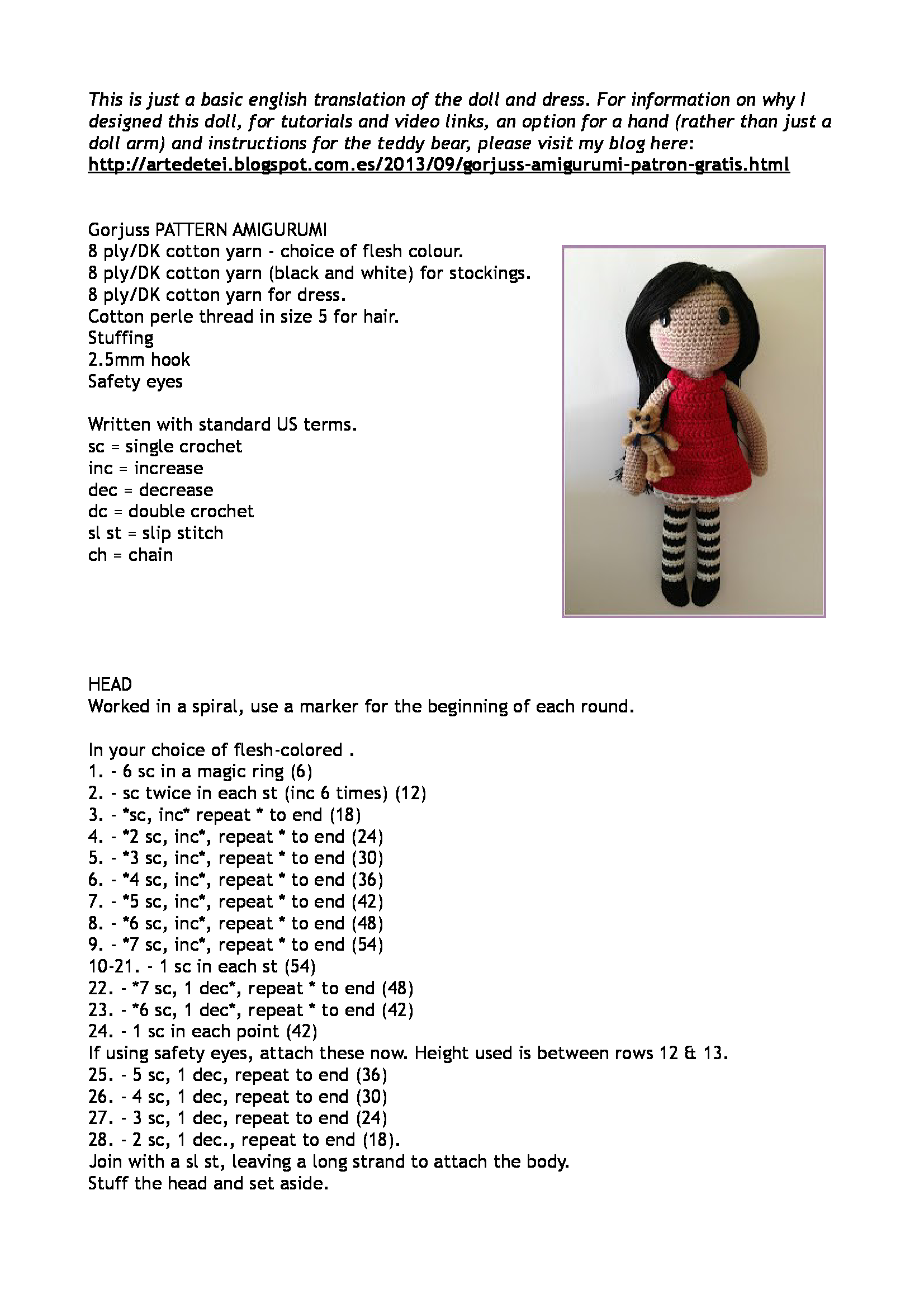 Free amigurumi doll pattern | Projekty do wypróbowania | Pinterest ...