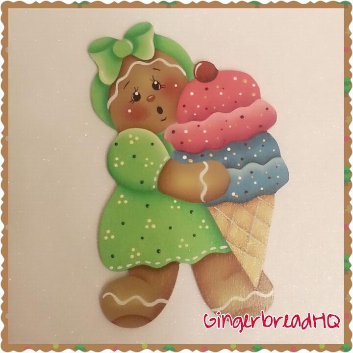 HP pintadas a mano chica de pan de jengibre, helado, adornos de Navidad de Madera
